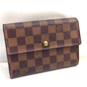 Auth Louis Vuitton Damier Ebene Wallet L45W99